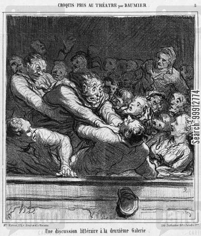 audiences cartoon humor: Theatre Sketches by Daummier - A literary discussion on the second gallery