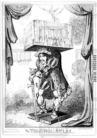georgian theatre cartoon humor: Edmund Kean Supporting Drury Lane