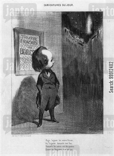 theater cartoon humor: Victor Hugo looking at the stars