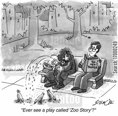 central park cartoon humor: 'Ever see a play called 'Zoo Story'?'