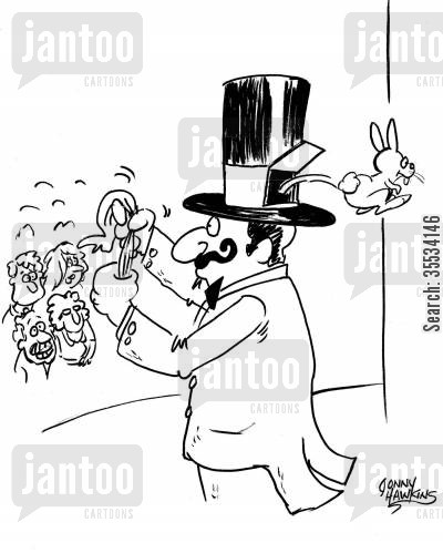 trick animals cartoon humor: Rabbit jumps out of back pet door of magician's hat