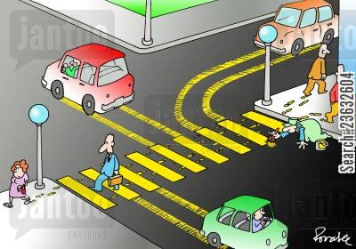 road markings cartoon humor: Man Painting Lines on the Road, as the Cars Drive Through.