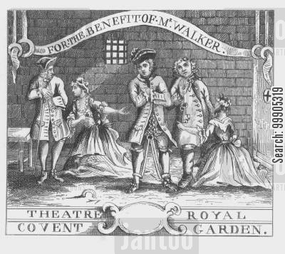 jails cartoon humor: Ticket - Theatre Royal Covent Garden - For the benefit of Mr. Walker.