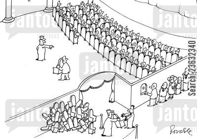 seating cartoon humor: Theatre gives out seats on the way in.