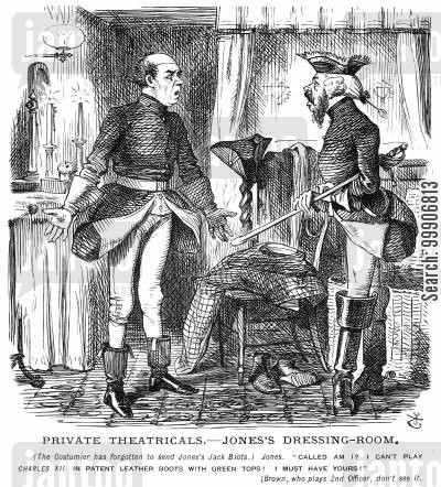 theater cartoon humor: Two actors preparing for a play