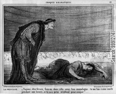 audiences cartoon humor: Stage Sketches - The Princess: 'Come on, you beast, go on and finish your monologue... you leave me lying here dead for a solid hour, and you know that i am invited out to supper!'