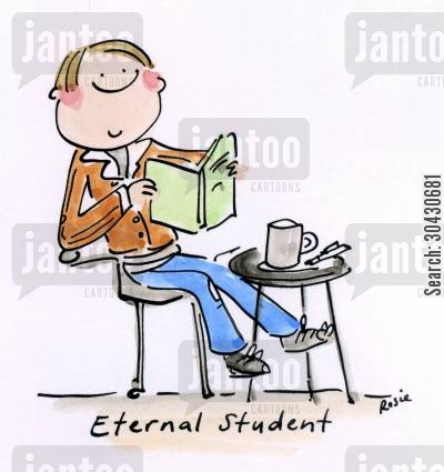 fresher cartoon humor: Eternal Student.