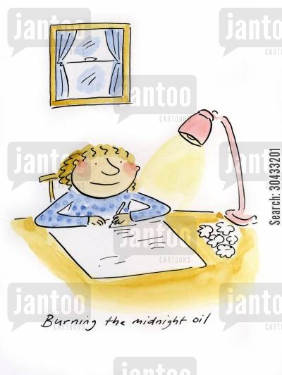 revise cartoon humor: Burning the midnight oil.