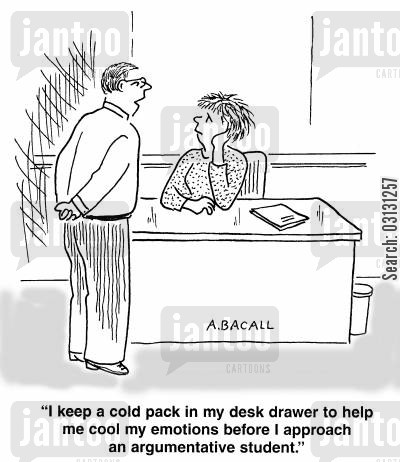 hot headed cartoon humor: I keep a cold pack in my desk drawer to help me cool my emotions before I apprach an argumentative student.