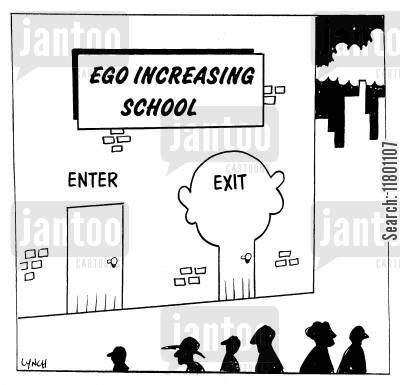 assertion cartoon humor: Ego Increasing School