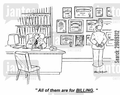 expense cartoon humor: 'All of them are for billing.'