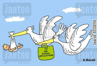 school application cartoon humor: Stork delivers baby.