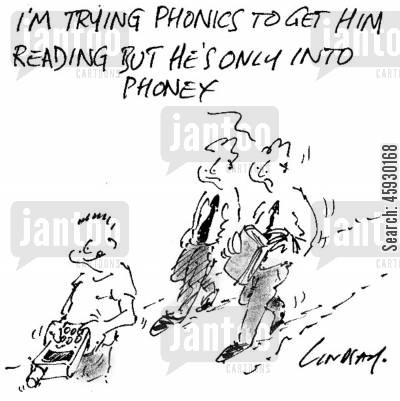 reading book cartoon humor: 'I'm trying phonics to get him reading but he's only into phoney,'