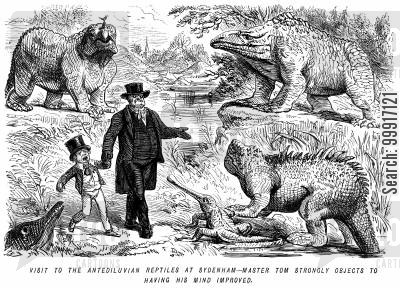 educational cartoon humor: Visit to the antediluvian reptiles at sydenham - Master Tom strongly objects to having his mind improved.