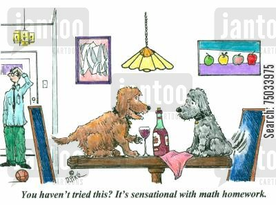 recommend cartoon humor: 'You haven't tried this? It's sensational with math homework.'