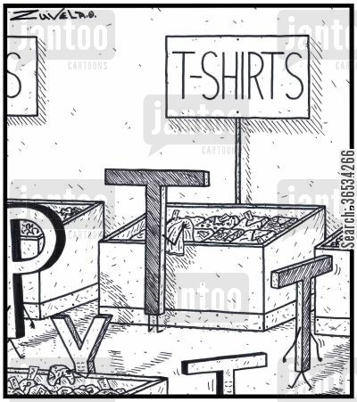 clothes shop cartoon humor:  A capital letter T checking out some T-shirts to buy