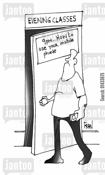 evening class cartoon humor: Evening classes...how to use your mobile phone.