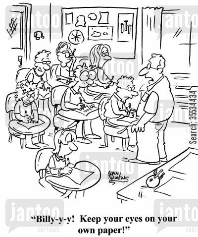 big eye cartoon humor: Teacher: 'Billy-y-y! Keep your eyes on your own paper!'