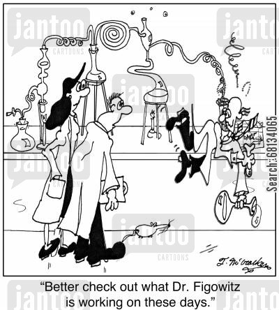 chemistry experiment cartoon humor:  'Better check out what Dr. Figowitz is working on these days.'