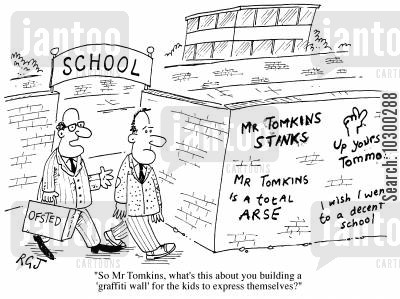 push over cartoon humor: So, Mr Tomkins what's this I hear about you building a 'Graffiti wall' for the kids to express themselves?