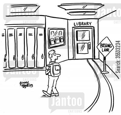 study habit cartoon humor: Sign by school library reads: 'Passing Lane'