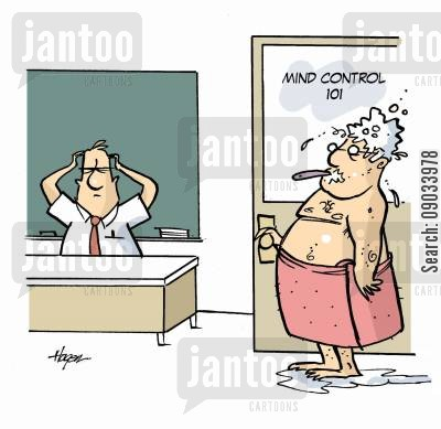 hypnotist cartoon humor: Mind Control 101.