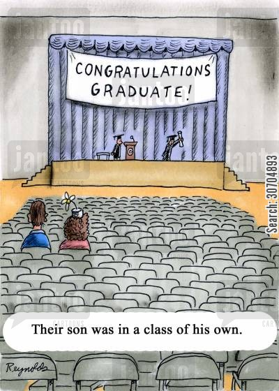 class of his own cartoon humor: Their son was in a class of his own.