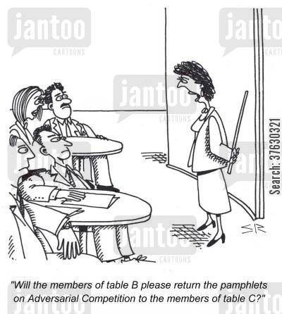 seminars cartoon humor: 'Will the members of table B please return the pamphlets on Adversarial Competition to the members of table C,'