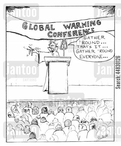 the underworld cartoon humor: 'Global Warming Conference'.