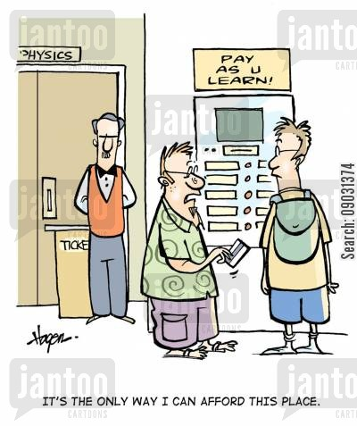 top up cartoon humor: 'It's the only way I can afford this place.'