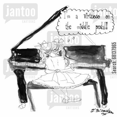piano lesson cartoon humor: 'I'm a virtuoso on the middle pedal.'
