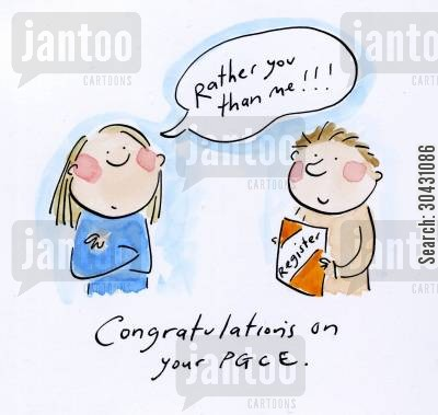 trainee cartoon humor: Congratulations on your PGCE.