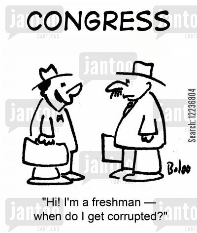 first years cartoon humor: 'Hi! I'm a freshman -- when do I get corrupted?'