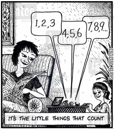 ornament cartoon humor: '1,2,3 4,5,6 7,8,9...'It's the little things that count.(little figurines counting).