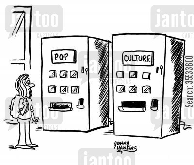 beverages cartoon humor: Girl sees two vending machines: 'Pop' and 'Culture'
