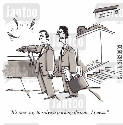 hawk cartoon humor: 'It's one way to solve a parking dispute, I guess,'