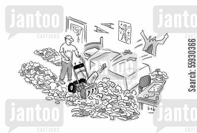 leaf blower cartoon humor: College student cleans messy dorm room littered with clothes with leafsnow blower