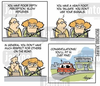 road users cartoon humor: Driving Testing.