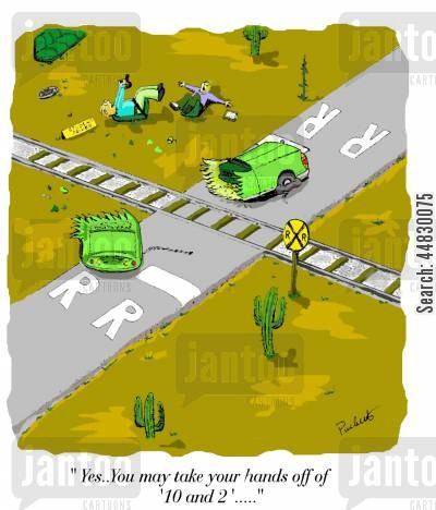 driving instructor cartoon humor: 'Yes..You may take your hands off of 10 and 2'...