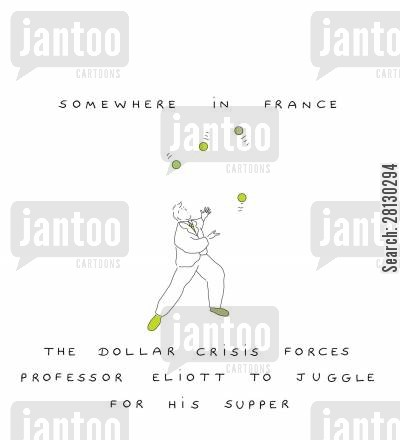hard times cartoon humor: Somewhere in France - The dollar crisis forces Professor Eliott to juggle for his supper.