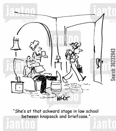 law students cartoon humor: She's at that ackward stage in law school between a knapsack and briefcase.