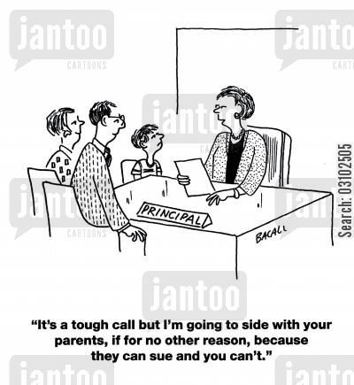 sides cartoon humor: 'It's a tough call but I'm going to side with your parents, if for no other reason, because they can sue and you can't.'