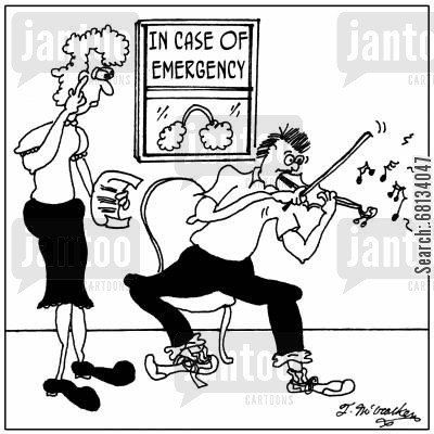 music room cartoon humor: In Case of Emergency' a music teacher looks at a big set of earplugs.