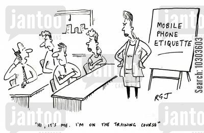 training courses cartoon humor: 'Hi, it's me. I'm on the training course.'