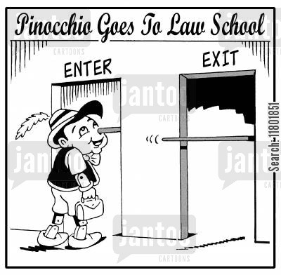 growing nose cartoon humor: Pinnochio goes to law school - his nose is enormous.