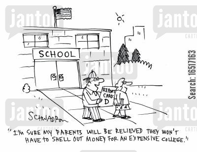 relieve cartoon humor: 'I'm sure my parents will be relieved they won't have to shell out money for an expensive college.'