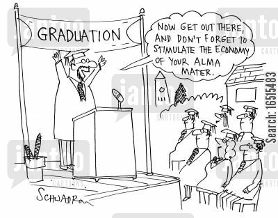 stimulate cartoon humor: 'Now don't forget to stimulate the economy of your alma mater.'