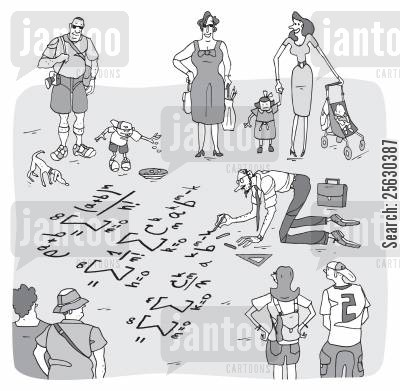 street artist cartoon humor: Tourists looking at a math teacher drawing mathematic formulas on the ground.
