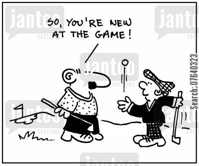 pros cartoon humor: 'So, you're new at the game.'