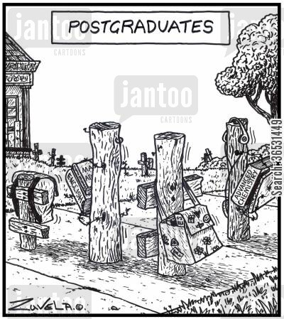 grads cartoon humor: Postgraduates A group of posts on their way to class.
